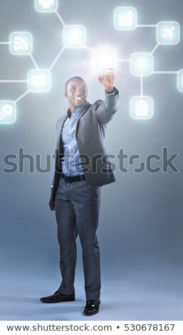 Empresário aplicação botão tela sensível ao toque computador Foto stock © vlad_star