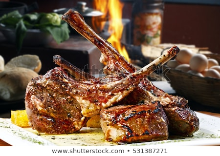 cordeiro · cogumelos · madeira · almoço · batata · pormenor - foto stock © stevemc
