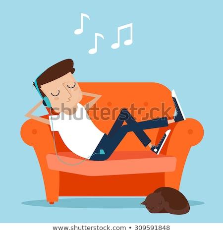 słuchanie · muzyki · myślenia · młody · człowiek · odizolowany · biały · student - zdjęcia stock © filipw