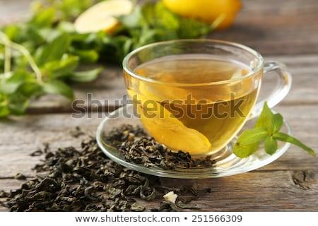 chá · verde · de · limão · fresco · folha · fruto - foto stock © Peredniankina