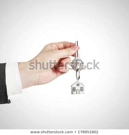 casa · chave · porta · trancar · isolado · branco - foto stock © burakowski