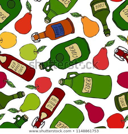 яблоко · сидр · бутылку · иллюстрация · стекла · продовольствие - Сток-фото © elmiko