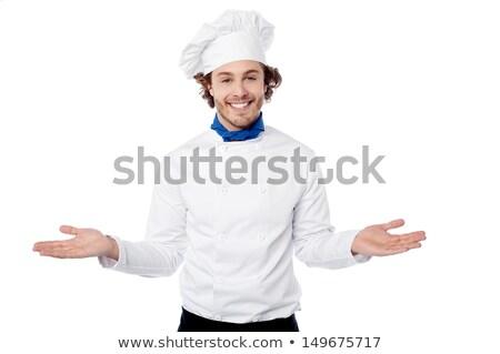 Mannelijke chef uniform poseren armen breed Stockfoto © stockyimages