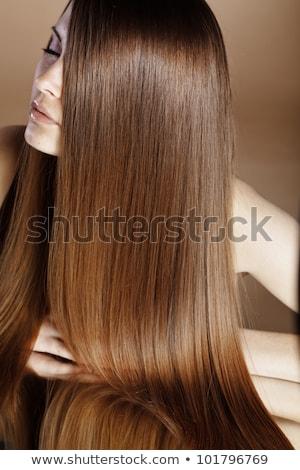 mooie · vrouw · lang · bruin · haar · portret · mode - stockfoto © arturkurjan