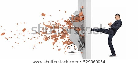Businessman and ruined brick wall  Stock photo © cherezoff