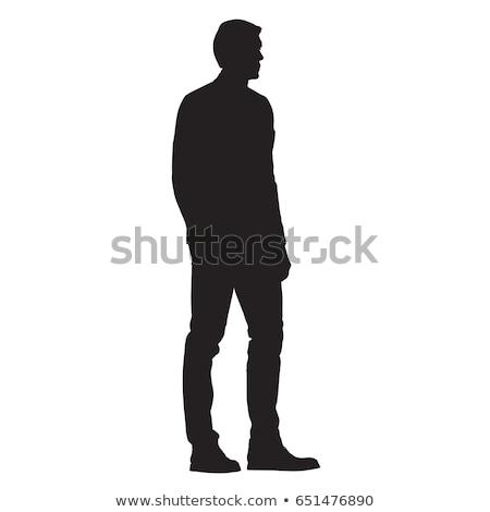 男 シルエット 孤立した 白人 白 黒 ストックフォト © Istanbul2009