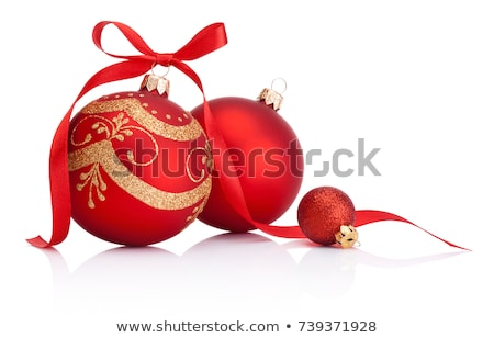 Stock photo: three white christmas balls