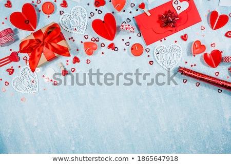 gyönyörű · üdvözlőlap · valentin · nap · illusztráció · piros · szív - stock fotó © adamson