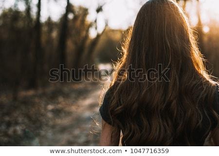 Cabelo castanho atraente romântico olhando mulher Foto stock © meinzahn