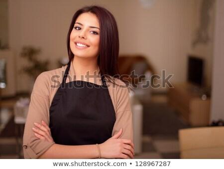 美しい 小さな 笑みを浮かべて 主婦 誇りに思う 女性 ストックフォト © deandrobot