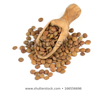 Spoonful of brown lentils over a lentil background Stock photo © ozgur