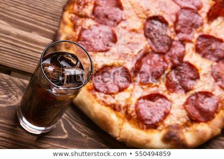 Pizza üveg Coca Cola fehér ital sajt Stock fotó © OleksandrO