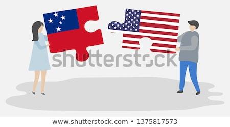 EUA Samoa Americana bandeiras quebra-cabeça vetor imagem Foto stock © Istanbul2009