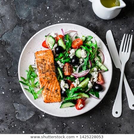 лосося · Салат · продовольствие · лист · зеленый · пластина - Сток-фото © ironstealth