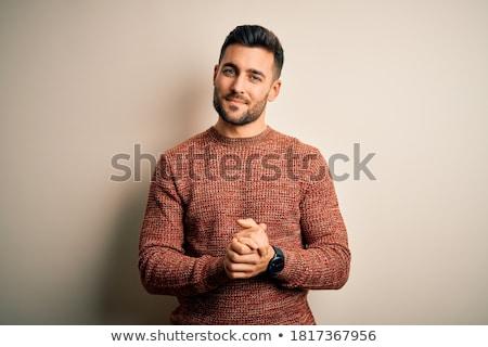 szőke · jóképű · férfi · fekete · póló · portré · jóképű - stock fotó © acidgrey