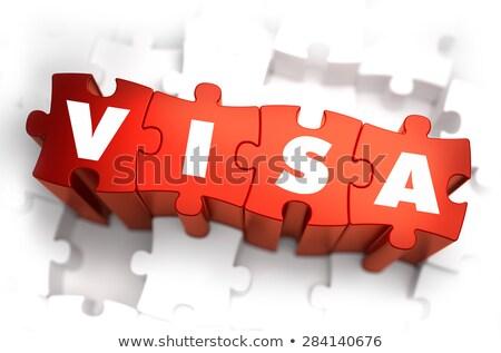VISA fehér szó piros 3d illusztráció utazás Stock fotó © tashatuvango