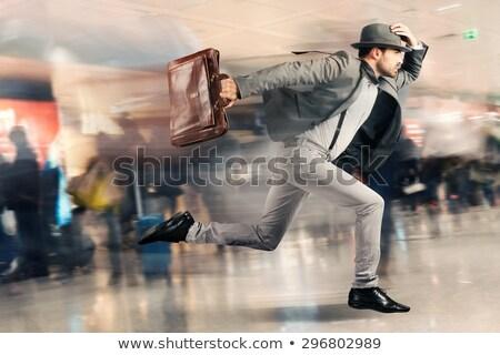 Laat toeristische man snel luchthaven gebouw Stockfoto © alphaspirit