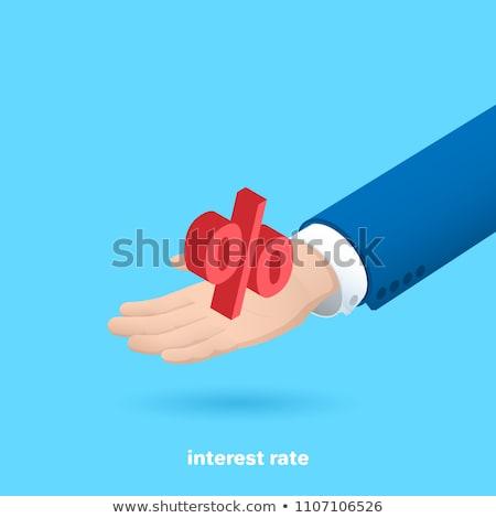 üzletember · tart · százalék · ikon · sötét · kék - stock fotó © fotoquique