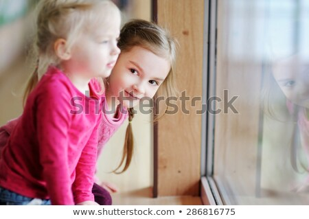 Two adorable sisters looking behind the window Stock photo © konradbak