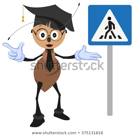 Ant teacher explains rules of road. Pedestrian crossing sign. How to cross street Stock photo © orensila