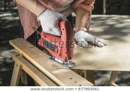 Işçi ahşap panel testere Stok fotoğraf © Kzenon