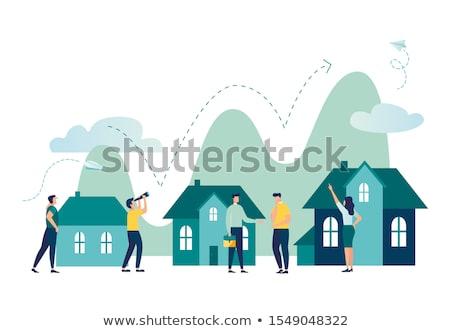 недвижимости дизайна иконки красочный вектора набор Сток-фото © Genestro