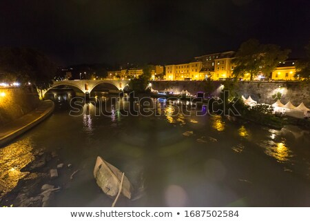 Castel Sant'Angelo, Rome, Italy. View from the bridge. Vintage Stock photo © photocreo
