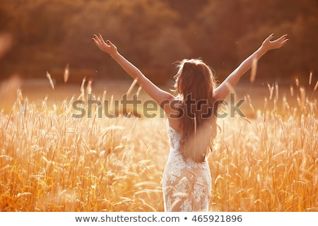 Enjoyment. Free woman arms outstretched. Happy bride with long w Stock photo © Victoria_Andreas
