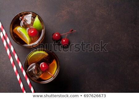 Bril kers brandewijn cocktail kersen voedsel Stockfoto © Alex9500