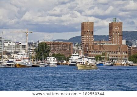 Hoofd- entree Oslo stad hal Noorwegen Stockfoto © vladacanon