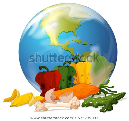 Global warming theme with earth and rotten food Stock photo © bluering