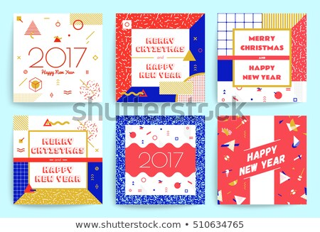 2017 new year calendar template design with triangle shapes back Stock photo © SArts