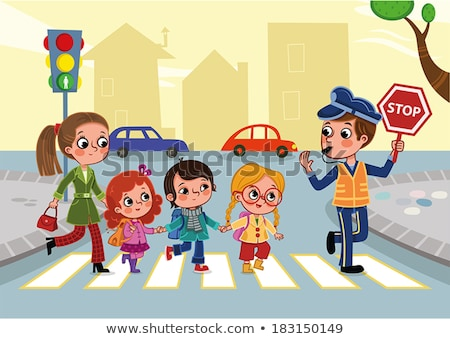 Kids crossing road with teacher. Vector illustration. Stock photo © maia3000