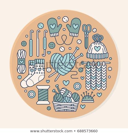 Knitting, crochet, hand made banner illustration. Vector line icon  needle, hook, scarf, socks, patt Stock photo © Nadiinko