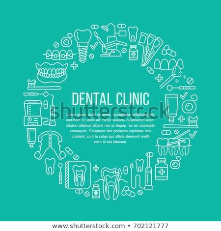 dentist orthodontics medical banner with vector line icon of dental care equipment braces tooth p stock photo © nadiinko