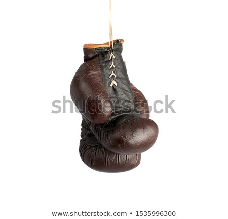 Black boxing gloves retro isolated. Vintage Sports accessories o Stock photo © MaryValery