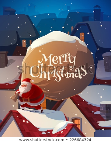 santa on the roof with a bag of gifts christmas card poster ba stock photo © nikodzhi