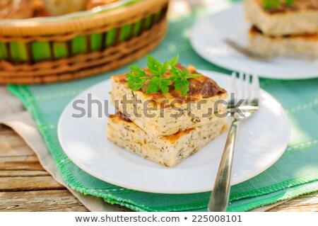 Rustique salé cheesecake fromage cottage bois gâteau Photo stock © yelenayemchuk