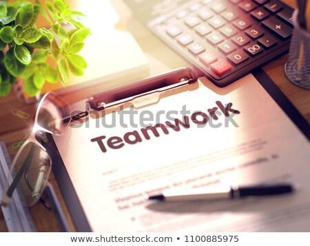 Stock fotó: Vállalati · képzés · vágólap · 3d · render · üzlet · irodai · asztal