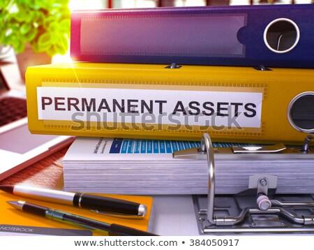 Citromsárga iroda mappa felirat tőke asztali Stock fotó © tashatuvango