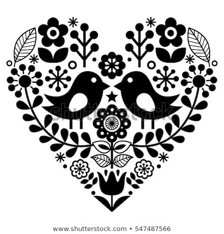 Scandinavian folk heart vector black pattern with flowers and birds - Valentine's Day, wedding, birt Stock photo © RedKoala