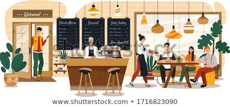 Men and women talking over menus Stock photo © IS2