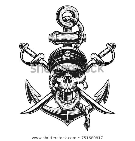 Pirate skull logo. head of skeleton and sabers. pirate symbol. V Stock photo © popaukropa