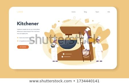 şef pasta fırıncı çalışmak adam mutfak Stok fotoğraf © popaukropa