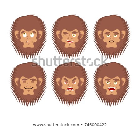 bigfoot emoji set yeti sad and angry face abominable snowman g stock photo © popaukropa