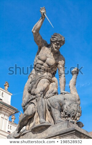 Statue on entrance to the Prague castle located in Hradcany dist Stock photo © vladacanon