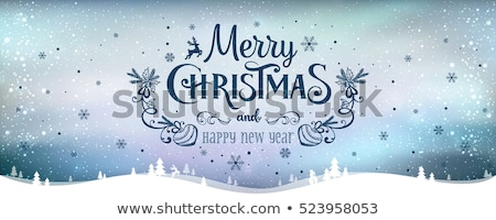 Christmas postcard designs with northern lights Stock photo © Sonya_illustrations
