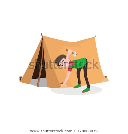 Set of camping tents icon - campsite and tourism, putting up a t Stock photo © gomixer