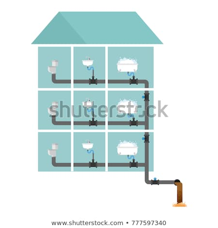 Stock photo: Sewer system in house. Pipes and valves. Sink and toilet bowl. B