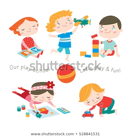 Boy and Girl Playing with Car and Paints Stock photo © Krisdog